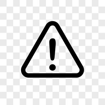 Warning vector icon on transparent background, Warning icon