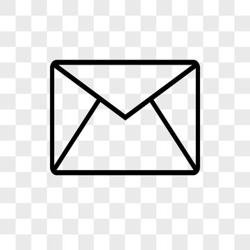 Email envelope outline vector icon on transparent background, Email envelope outline icon