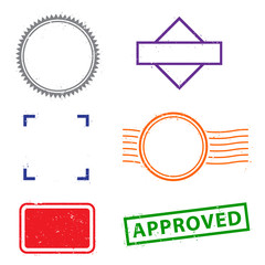 Stamps frames on white background.  Six stamps frames for presentations, flyers, leaflets, postcards and posters.  Flat design.  Flat design.  Vector illustration EPS10.