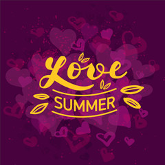 "Hand drawn lettering ""Love summer"" Typographical Background"
