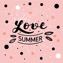 """Hand drawn lettering """"Love summer"""" Typographical Background"""