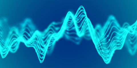 3D Sound waves. Big data abstract visualization: business charts analytics. Digital landscape with flowing curves. Futuristic technology background. Visual sound waves, EPS 10 vector illustration.