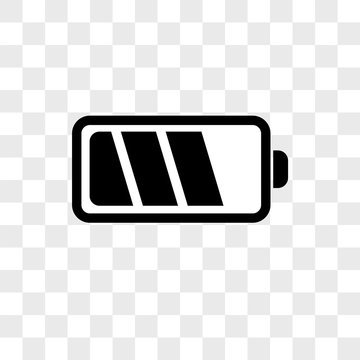 Battery vector icon on transparent background, Battery icon