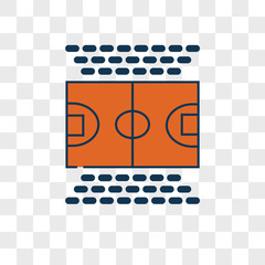 Basketball court vector icon on transparent background, Basketball court icon