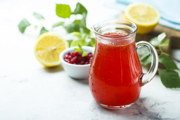 Homemade refreshing red berry drink