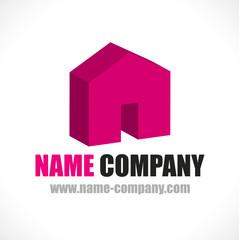 logo construction maison 3d promoteur agence location immobilière
