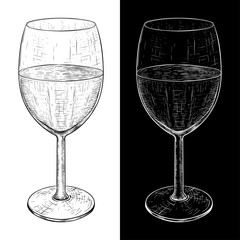 Glass of wine. Hand drawn sketch