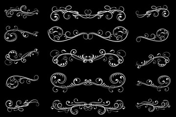 Dividers. Black filigree floral decorations on black background