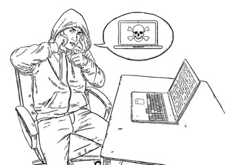sketch style illustration of hacker talking on mobile phone and pointing at viewer