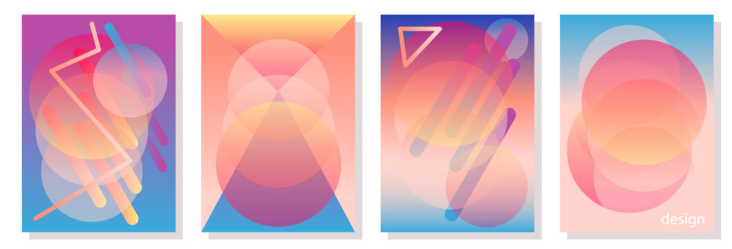 Set of colorful A4 covers with circles.