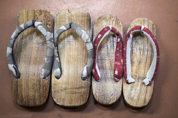 pair of wooden sandals. japanese geta. japanese slippers