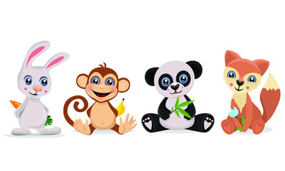 Set of cute animals. Bunny, monkey panda and fox. Vector illustration.