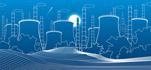 Industry illustration. Factory thermal power plant. Urban scene. Pipes and smoke. White lines on blue background. Vector design art