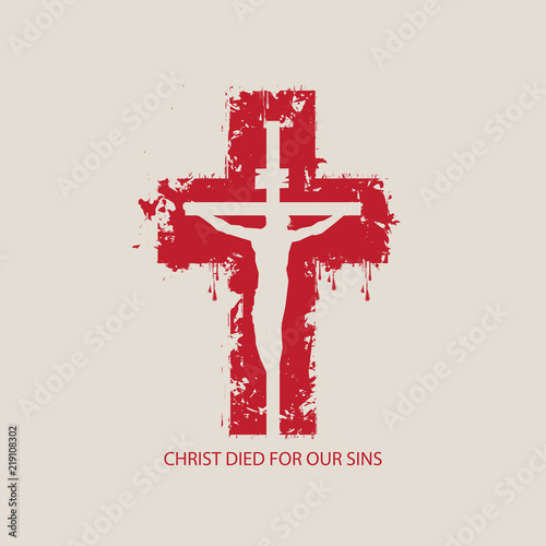 Vector illustration on religious theme with crucified Jesus