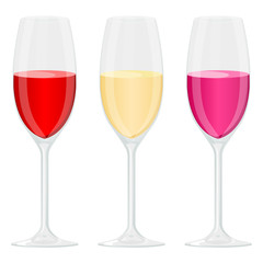 Glass of wine. Red, white and rose wine