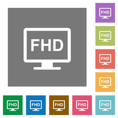 Full HD display square flat icons