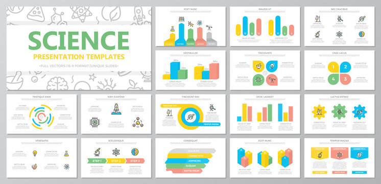 Set of science and research elements for multipurpose presentation template slides with graphs and charts. Leaflet, corporate report, marketing, advertising, book cover design.