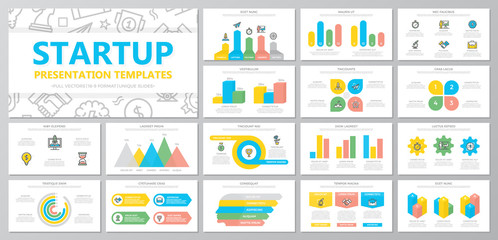 Set of startup and business elements for multipurpose presentation template slides with graphs and charts. Leaflet, corporate report, marketing, advertising, book cover design.