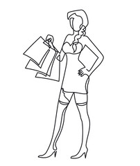 Continuous one line drawing Cute Woman with shopping bags in their hands. Vector illustration.