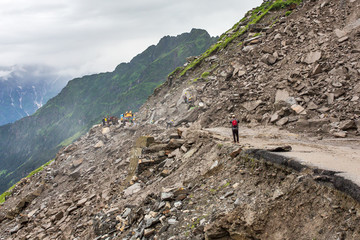 Landslide on the Manali - Leh Highway at the Rohtang pass area, HImachal Pradesh, India.