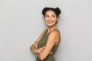 Portrait of a cheerful young woman isolated