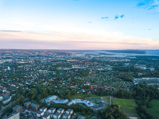 Aerial view on Oslo center and Kringsja urban area in Oslo, Norway