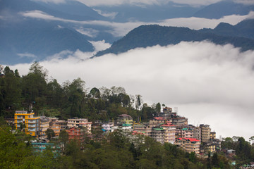 Pelling town aerial view, West Sikkim, India