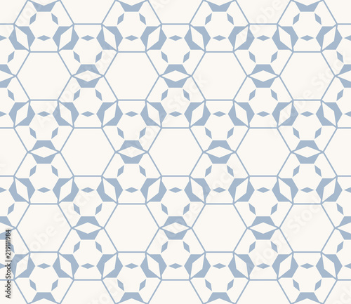Abstract Blue Vector Geometric Seamless Pattern With Hexagonal Grid