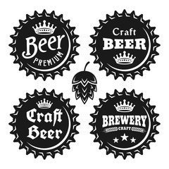 Beer caps with text vector black vintage objects
