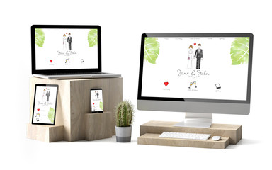 Wall Mural - wooden cubes devices isolated wedding responsive website