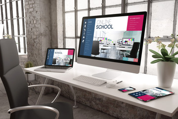 industrial office mockup responsive website online school