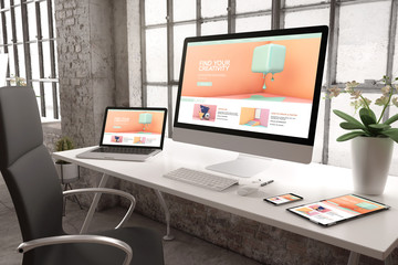 industrial office mockup responsive website creativity design