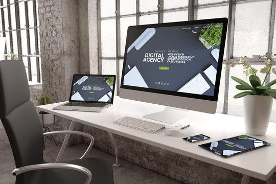 industrial office mockup digital agency website