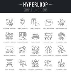 Set Vector Line Icons of Hyperloop.
