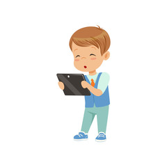 Cute little boy standing with a tablet pc vector Illustration on a white background