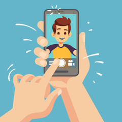 Young happy man taking selfie photo on smartphone. Male face portrait on cellphone screen. Cartoon vector illustration