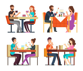 Couples table. Man, woman having coffee and dinner. Conversation between guys in restaurant. Vector cartoon characters in romantic date