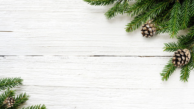 Christmas Fir tree branches and pine cones background