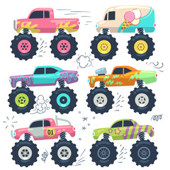 Monster trucks. Kids car toys. Cartoon vector set