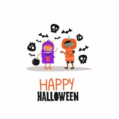Cartoon illustration with kids. Happy Halloween. Vector card.