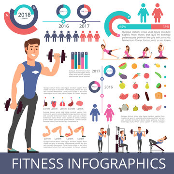 Sports and healthy life vector business infographic with sport person characters, charts and diagrams. Fitness characters