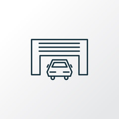 Car garage icon line symbol. Premium quality isolated building element in trendy style.
