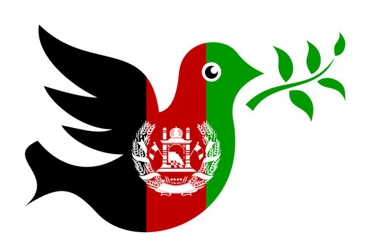 METAPHOR MEANING: Dove with olive branch in colors of Afghanistan as metaphor of peace and ceasefire in Afghan state after civil war and military conflict