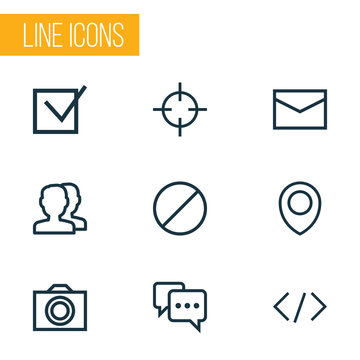 User icons line style set with forbidden, note, tag and other code  elements. Isolated vector illustration user icons.