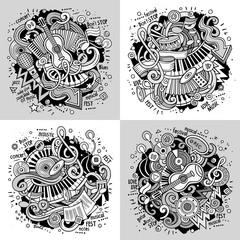 Music cartoon vector doodle illustration