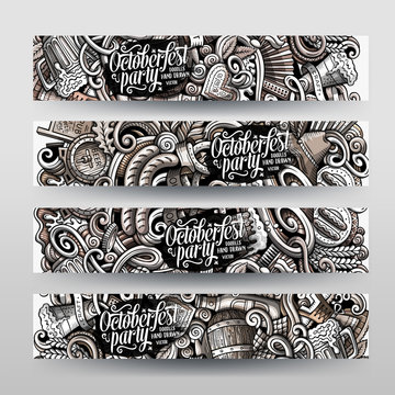 Cartoon graphics monochrome vector hand drawn doodles Oktoberfest corporate identity