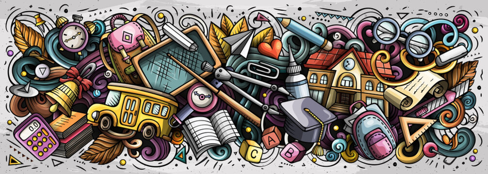 Cartoon cute doodles School banner design. Colorful illustration