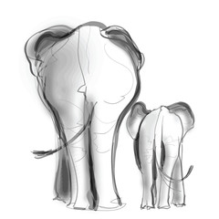 Poster Art Studio Mother elephant and her baby walking