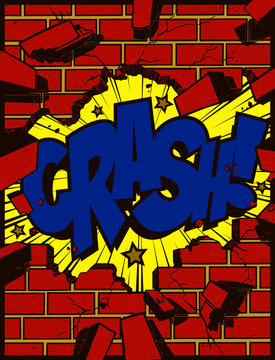 Hole in broken brick wall torn down exploding with crash text pop art comic book style explosion cartoon vector illustration
