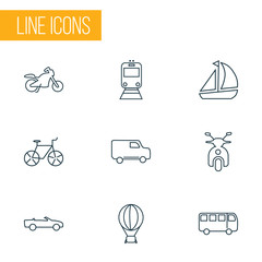 Vehicle icons line style set with cabriolet, bus, ship and other bike